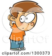 Cartoon Brunette White Boy Covering His Ear And Listening