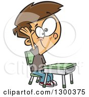 Clipart Of A Cartoon Brunette White School Boy Raising His Hand At A Desk Royalty Free Vector Illustration