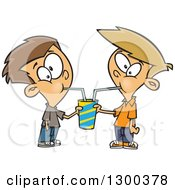 Clipart Of Cartoon Brunette And Blond White Boys Sharing A Soda Royalty Free Vector Illustration