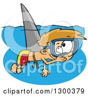 Clipart Of A Cartoon Mischievous Blond White Boy Wearing A Shark Fin And Swimming As A Prank Royalty Free Vector Illustration