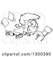 Lineart Clipart Of A Cartoon Black And White School Boy Running Recklessly Through A Classroom Royalty Free Outline Vector Illustration