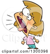Clipart Of A Cartoon Bratty Dirty Blond White Girl Yelling Or Tattletaling Royalty Free Vector Illustration by Ron Leishman