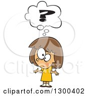 Clipart Of A Cartoon Confused Brunette White Girl Shrugging Under A Question Mark Royalty Free Vector Illustration by Ron Leishman