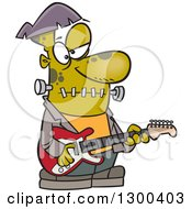 Clipart Of A Cartoon Frankenstein Playing A Guitar Royalty Free Vector Illustration