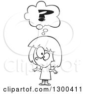 Lineart Clipart Of A Cartoon Black And White Confused Girl Shrugging Under A Question Mark Royalty Free Outline Vector Illustration