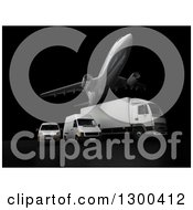 Clipart Of A 3d Commercial Airliner Plane Flying Over A Big Rig And Delivery Vans On Black 2 Royalty Free Illustration