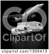 Clipart Of A 3d Commercial Airliner Plane Flying Over A Big Rig And Delivery Vans On Black 3 Royalty Free Illustration