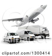 Clipart Of A 3d Commercial Airliner Plane Flying Over A Big Rig And Delivery Vans On White Royalty Free Illustration