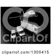 Clipart Of A 3d Commercial Airliner Plane Flying Over A Big Rig And Delivery Vans On Black 4 Royalty Free Illustration