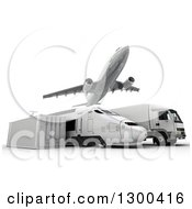 Clipart Of A 3d Commercial Airliner Plane Flying Over A Big Rig Train And Cargo Container On White Royalty Free Illustration
