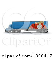 Clipart Of A 3d Blue Big Rig Truck With 48 Hour Rush Shipping Graphics On White Royalty Free Illustration