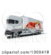 Clipart Of A 3d White Big Rig Truck With 48 Hour Rush Shipping Graphics On White Royalty Free Illustration