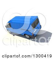 Clipart Of A 3d Aerial View Of A Blue Delivery Van On White Royalty Free Illustration