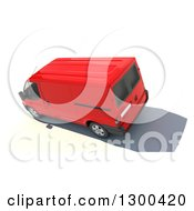 Clipart Of A 3d Aerial View Of A Red Delivery Van On White Royalty Free Illustration