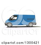 Clipart Of A 3d Blue Delivery Van In Profile On White Royalty Free Illustration by Frank Boston