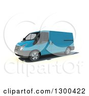 Clipart Of A 3d Light Blue Delivery Van On White Royalty Free Illustration by Frank Boston