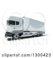 Clipart Of A 3d White Big Rig Truck Royalty Free Illustration