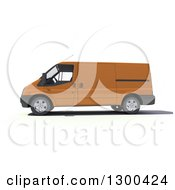 Clipart Of A 3d Orange Delivery Van In Profile On White Royalty Free Illustration