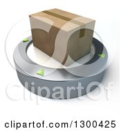 Clipart Of A 3d Cardboard Box On A Platform Over White Royalty Free Illustration