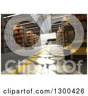 Clipart Of A 3d Distribution Warehouse Interior With Forklifts Royalty Free Illustration