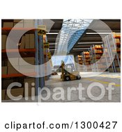 Clipart Of A 3d Distribution Warehouse Interior With A Forklift Royalty Free Illustration