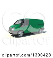 Clipart Of A 3d Green Delivery Van On White Royalty Free Illustration