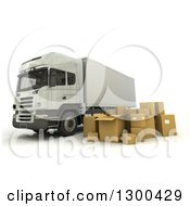 Clipart Of A 3d Big Rig Truck With Packages On White Royalty Free Illustration