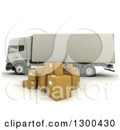 Clipart Of A 3d Big Rig Truck With Boxes On White Royalty Free Illustration