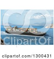 Clipart Of A 3d Cargo Ship And Other Boats In A Bay Royalty Free Illustration