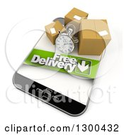 Clipart Of A 3d Stopwatch And Packages With A Free Delivery Banner On A Smart Phone Royalty Free Illustration