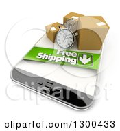 Clipart Of A 3d Stopwatch And Packages With A Free Shipping Banner On A Smart Phone Royalty Free Illustration