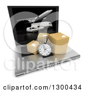 Clipart Of A 3d Stopwatch And Packages On A Laptop Computer With Shipping Fleet Vehicles On The Screen Over White Royalty Free Illustration