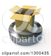 Clipart Of A 3d Open Cardboard Box On A Platform Over White Royalty Free Illustration