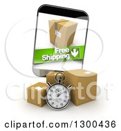Clipart Of A 3d Stopwatch And Packages With A Free Shipping Banner On A Smart Phone Screen Royalty Free Illustration