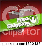 Clipart Of A 3d Green Free Shipping Banner Over White Shopping Or Gift Bags On Red Royalty Free Illustration
