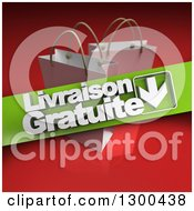 Clipart Of A 3d Green Livraison Gratuite Banner Over White Shopping Or Gift Bags On Red Royalty Free Illustration