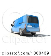 Clipart Of A 3d Rear View Of A Blue Delivery Van On White Royalty Free Illustration
