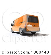 Clipart Of A 3d Rear View Of An Orange Delivery Van On White Royalty Free Illustration