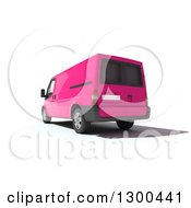 Clipart Of A 3d Rear View Of A Pink Delivery Van On White Royalty Free Illustration by Frank Boston