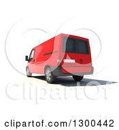 Clipart Of A 3d Rear View Of A Red Delivery Van On White Royalty Free Illustration