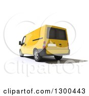 Clipart Of A 3d Rear View Of A Yellow Delivery Van On White Royalty Free Illustration