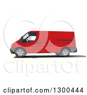 Clipart Of A 3d Red Delivery Van In Profile On White Royalty Free Illustration