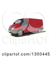 Clipart Of A 3d Red Delivery Van On White Royalty Free Illustration
