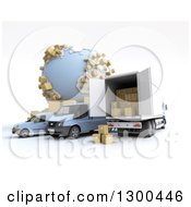 Clipart Of A 3d Shipping And Delivery Fleet With Packages By A Globe On White Royalty Free Illustration