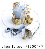 Clipart Of A 3d Aerial View Of A Shipping And Delivery Fleet With Packages By A Globe On White Royalty Free Illustration