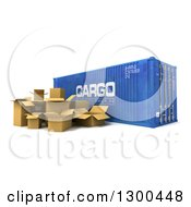 Clipart Of A 3d Blue Cargo Container With Boxes On White Royalty Free Illustration
