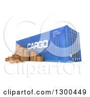 Clipart Of A 3d Blue Cargo Container With Packages On White Royalty Free Illustration