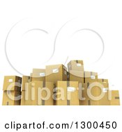 Clipart Of A 3d Group Of Cardboard Shipping Boxes Under Text Space On White Royalty Free Illustration by Frank Boston