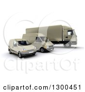 Clipart Of A 3d Shipping And Delivery Fleet Of A Beige Big Rig Truck And Vans Royalty Free Illustration