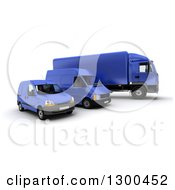 Clipart Of A 3d Shipping And Delivery Fleet Of A Blue Big Rig Truck And Vans Royalty Free Illustration